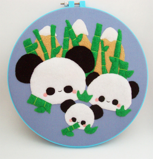 "Available in my online store here!""Pudding Pandas live in the mountain regions of Pudding China. They like to munch munch munch on stacks of pudding bamboo. Pandas are solitary creatures and do not tolerate other pudding pandas infiltrating their territory, grr!""This is mounted onto an embroidery hoop that can be hung on a wall, placed on a shelf, etc."