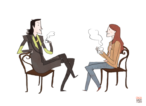 "gingerhaze:  A commission for leupagus, who asked for Loki and Jane drinking coffee.   I can only assume that this is what Loki meant by ""paying her a visit himself."""