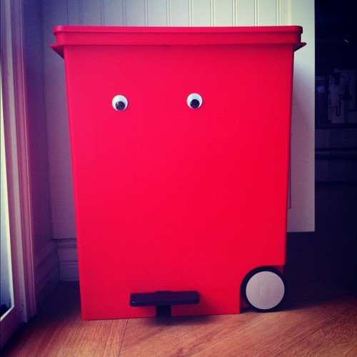 timothyliles:  New garbage can. Plus google eyes. (Taken with Instagram)