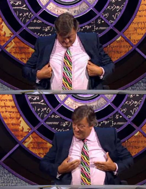 "sugaryumyum:  Yes, I just screencapped Stephen Fry feeling up his self-proclaimed ""funbags.""  And, yes, I found this sexy.  Don't judge me."