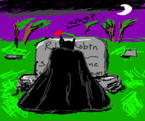 The prompt for this drawing called for Batman mourning at a simple grave. I wasn't sure why I chose Robin to die, but I honestly never liked The Boy Wonder. (via batman mourns mikko5836)