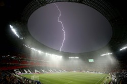 inothernews:  SHOCCER   Lightning flashed above the Donbass Arena in Ukraine after the Euro 2012 soccer game between Ukraine and France was suspended due to bad weather. (Photo: Carl Recine / Action Images / Zuma Press via the Wall Street Journal)