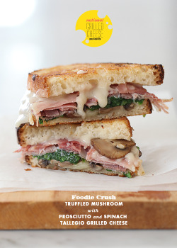 grilled cheese with truffled mushrooms, prosciutto and spinach tallegio
