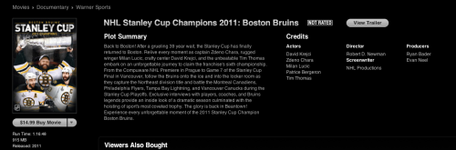 So I watched this in honor of Bruins winning the Cup a year ago. I'd reccomend it especially if your a fan. It makes me want the cup more. It's annoying that I have to wait so long for the season to start. Timmy won't be in net :(