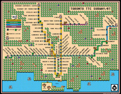 Super Mario 3 style subway map for Toronto via Boing Boing