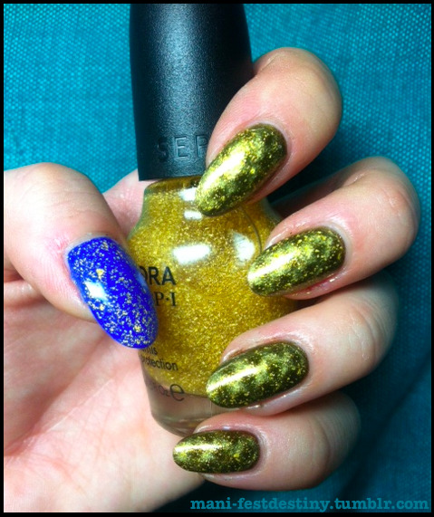 Nails Inc. Picadilly (Fishnet Magnet) Nails Inc. Baker Street (Cobalt thumb) Sephora by OPI It's Real 18K Gold Top Coat over errythang I could not use the fishnet magnet well at all! Did anyone else struggle with it? It came out nicely on the ring finger, but my thumbnail was just too damn long for the complicated magnet pattern. Oh well.