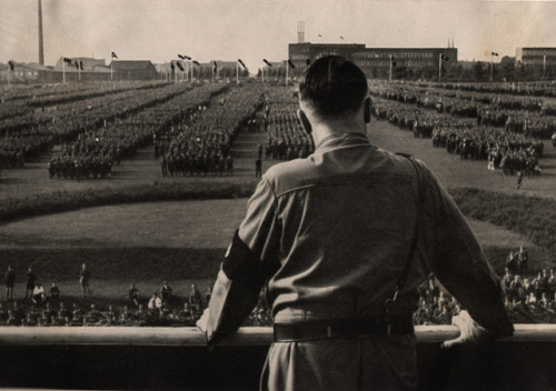 gentleman-blackbird:  The Führer speaks to the SA in Dortmund, 1933.