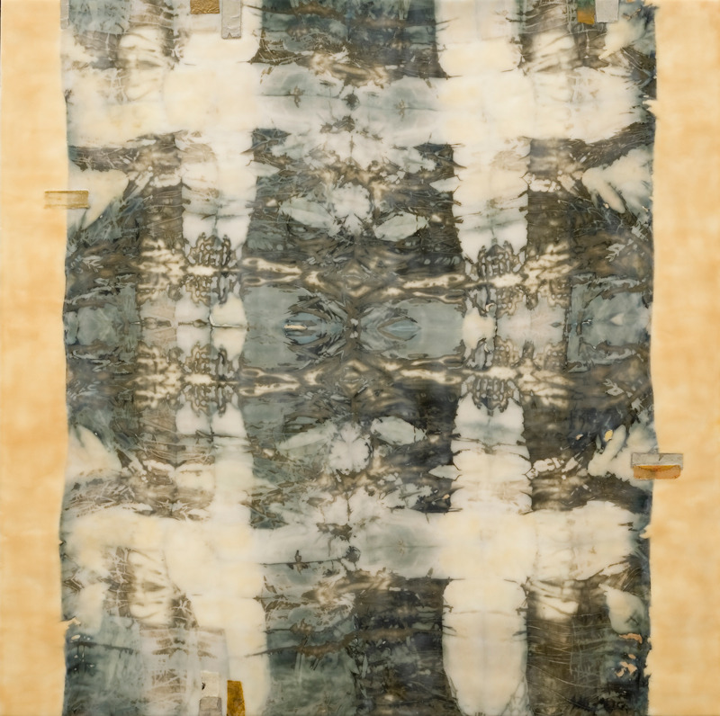 "dailyartjournal:  Rosemary Barile, ""Echo"", Encaustic, copper patina on silk and paper"