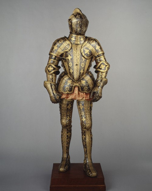 fckyeaharthistory:  Armor Garniture of George Clifford, Third Earl of Cumberland. Made under the direction of Jacob Halder. 1586, Steel, etched, blued, and gilt