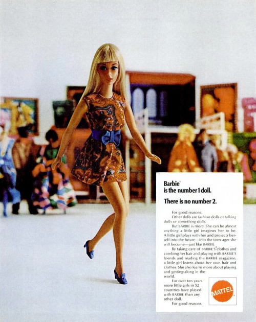 "~ Mattel Barbie, 1970via Flickr(click to enlarge)""By taking care of BARBIE'S clothes and combing her hair and playing with BARBIE'S friends and reading the BARBIE magazine, a little girl learns about her own hair and clothes. She also learns more about playing and getting along in the world."""