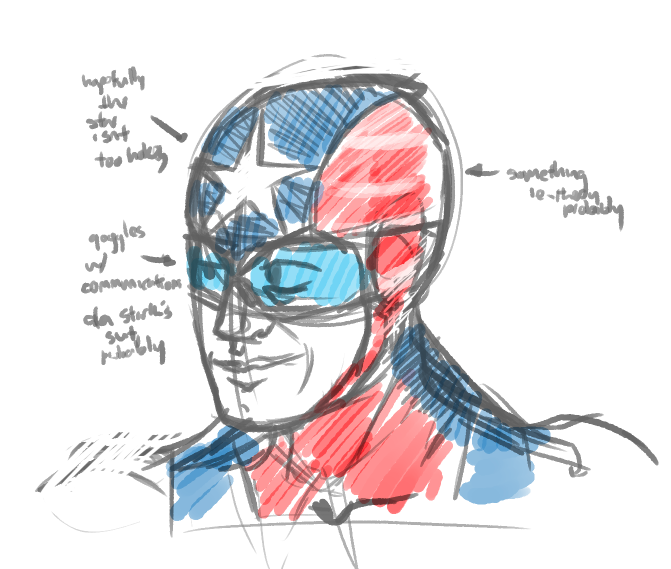 brooklynstarsandstripes:  namesnotagent:  just sketching out some ideas for Lieutenant Freedom….  So who will be wearing this? Someone I know, right? I'm sure whoever it is will make a fine soldier.  coulson this was supposed to be a surprise for steve! steve im becoming your new side kick as lieutentant free  no sorry i really cant im pissing myself just thinking about this
