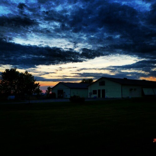 #sky #clouds #sunset #trees #barn #grass #field  (Taken with Instagram)