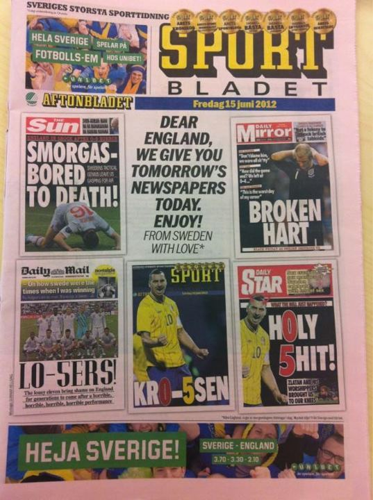 Well, for the Swedish Sport Bladet, this seemed like a good idea at this time yesterday…