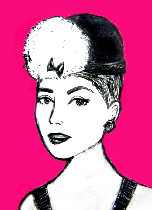 "appledoodles:  ""Audrey Hepburn"" Ink (pink with photoshop)"