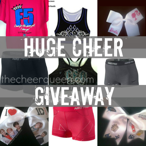 thecheerqueen:  HUGE CHEER GIVEAWAY!!Thank you guys for helping me 1,000 followers!!NOTE: the clothing items have not been bought due to the fact that the winner may not be the same size as the clothes I would have bought…the items will be ordered to the size of the winner.  What's included:-3 Nike Pro Shorts (must reach 2,000 notes to giveaway these)-CA & CEA Sport Bras (must reach 1,000 notes to giveaway these)-F5, World Cup, and Stingrays Shirts-3 of my personal made bows-and a shout out to the winner everyday for a month! Rules: -Must be following thecheerqueen (I check!)-Reblog to enter; the more you reblog the more you get entered in-NO LIKES-Giveaway ends July 15th NOW START ENTERING :)  p.s. I use random.org to generate the winner.