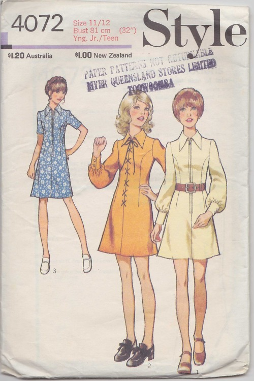 Short dress patterns-1970s