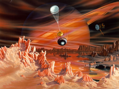 Titan Surmised  Illustration Credit & Copyright: Craig Attebery, ESA, NASA  Explanation: What does the surface of Titan look like? Thick clouds have always made Saturn's largest moon so mysterious that seemingly farfetched hypotheses like methane rain and lakes have been seriously considered. Later this week, the Cassini spacecraft orbiting Saturn is scheduled to release its probe named Huygens that will actually attempt to land on the shrouded moon in early January. Sketched above is one educated guess of what Huygens might find. In the above depiction, orange hydrocarbons color a landscape covered with lakes and peaks of frozen methane and ammonia. For illustration purposes, the Huygens probe is drawn parachuting down with an oversized Cassini spacecraft orbiting above. Saturn, likely occluded by the clouds, is depicted looming in the distance. What will Huygens really find? Are the building blocks of life frozen onto the surface of Titan? Will the truth be stranger than we imagined?