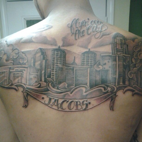 lil homie CJ reppin the city on his back.  #Louisville #TheVille # #tattoo #tattoos #art  (Taken with Instagram)