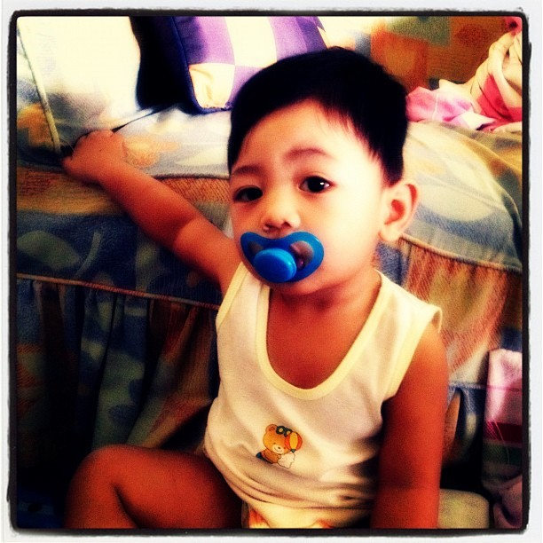 My little man just woke up! Look at those kilay! He's the BOSS! 😊😱😁🙌👍😍 #ilovemyjuliannathaniel  (Taken with Instagram)