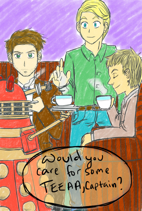 mushroomery asked:Molly said John, Steve and Castiel drink tea together. Do the Daleks ever show up to these tea parties? Of course they do sweetie. But Castiel has a hard time getting use to them….