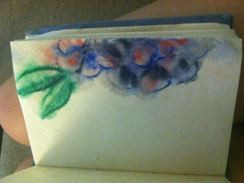 Day 2. This is a watercolor. The paper in this book I'm using is not made for watercolor. My intended result never happened but I like the way the colors ran together. June 15. Watercolor.