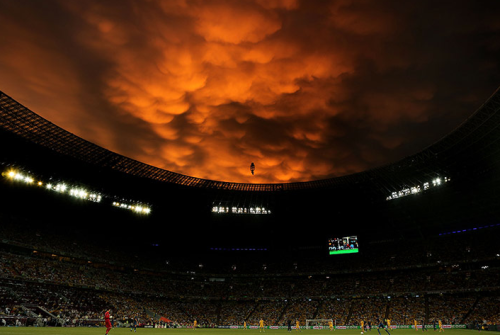 thebeautifulgameblog:  The sky above Donbass Arena in Donetsk, Ukraine during an Euro 2012 match between France and Ukraine.