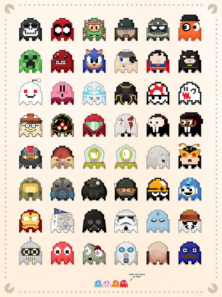 otlgaming:  EVERYONE AS PAC-MAN GHOSTS Artist Ryan Coleman created this awesomely massive collection of all kinds of pop culture, video game, television and comic book characters reimagined as Pac-Man Ghosts.  (Source: Ryan Coleman's Flickr)