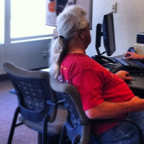 This Guy takes the mullet to a whole new level… #mullet #ispy #ohmy #badhair  (Taken with Instagram)