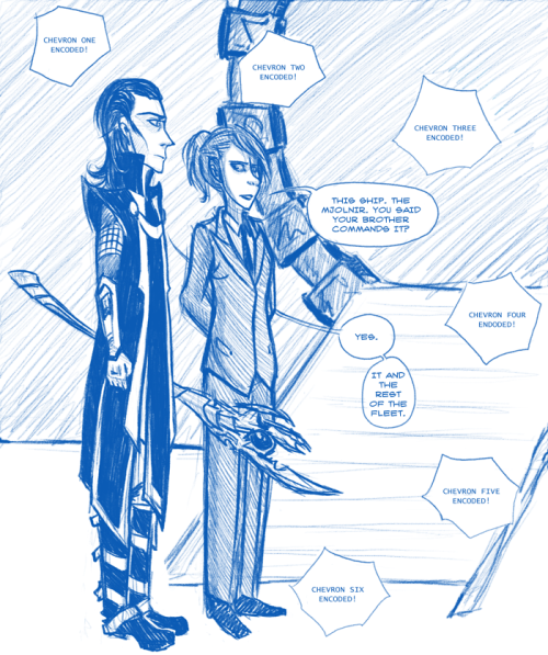 Marvelgate doodles to go with Stargate/Marvel fic. Loki is Asgard's rather depressed Tok'ra diplomat; Jane Foster is an airforce captain at the SGC.