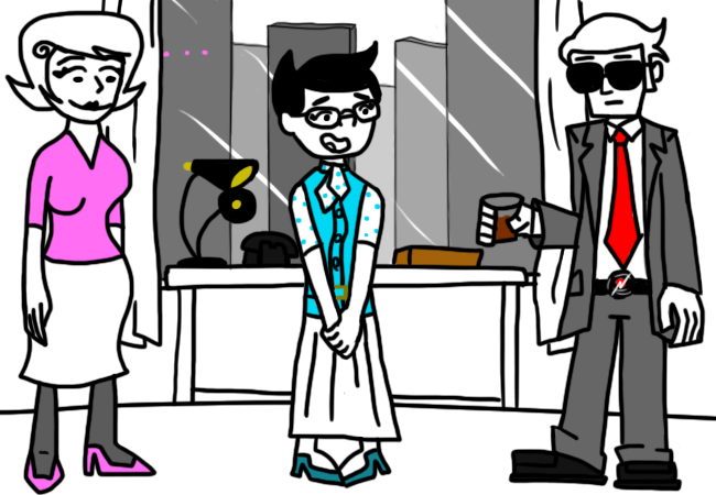 "madstuck:  ==> JANE: ENTER MR. DRAPER'S OFFICE You find yourself confronted by none other then the great Dave Draper. The man who could sell an ice-cube to another ice-cube and not even give a singly fuck about ice-cube trafficking laws in the ice-cube justice system. Whatever gets him the sale. …  Madstuck update! I really like this page. …I just do. I just wish I could ""Read More…"" the pesterlog, but the Picture posting option doesn't allow that or I just suck hardcore at HTML. whaaaatevs."