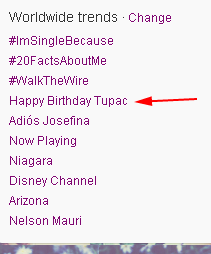 Tupac Trending world wide on Twitter Happy 41th birthday.