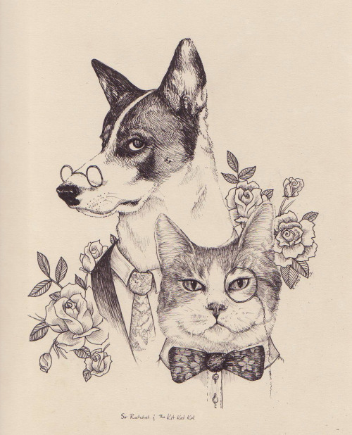 It was my oldest sister's birthday recently so I drew her pup and kitteh looking all dapper and such. This was actually so much fun to do!They make me think of two mobsters or something.