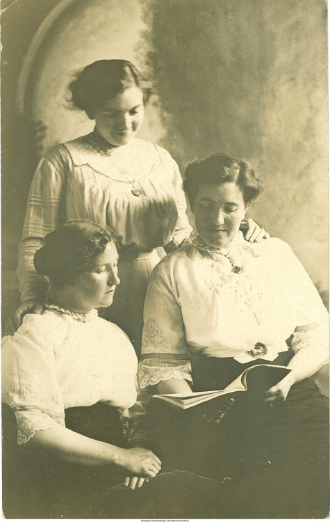 "books0977:  Women reading, Nora Springs, Iowa, 1913. Photographic postcard. ""There are women in middle life, whose days are crowded with practical duties, physical strain, and moral responsibility … they fail to see that some use of the mind, in solid reading or in study, would refresh them by its contrast with carking cares, and would prepare interest and pleasure for their later years."" — Ellen Henrietta Swallow Richards (1842-1911), U.S. chemist and educator."