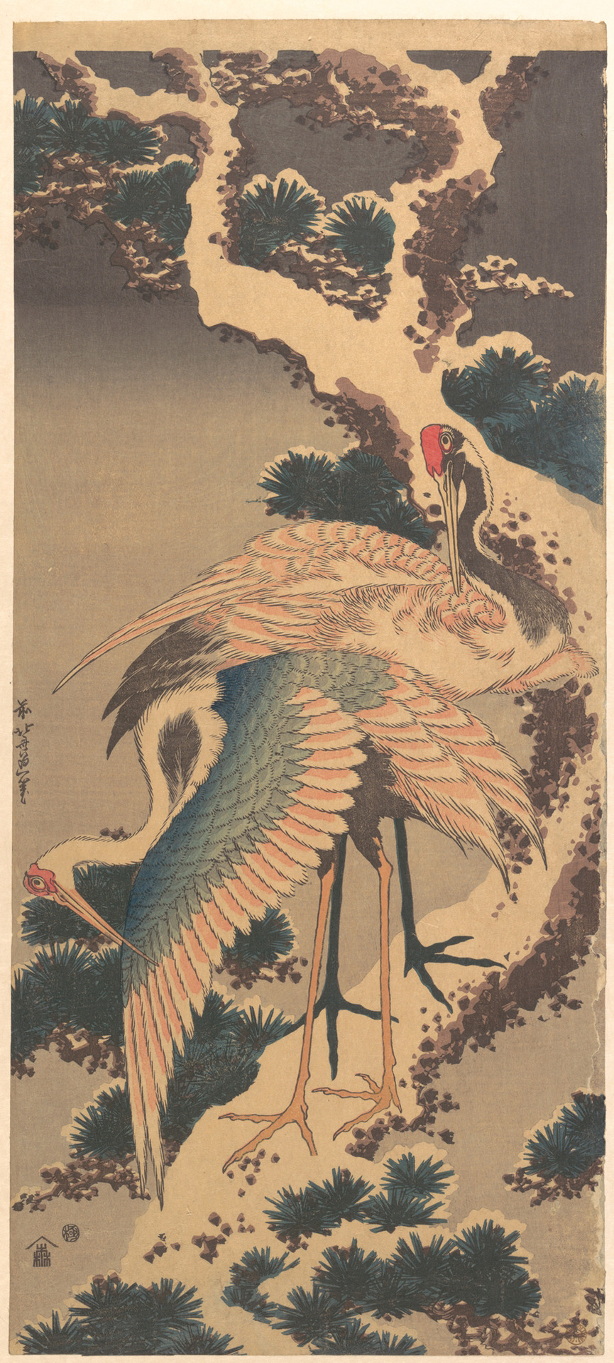 Katsushika Hokusai - Cranes on Branch of Snow-covered Pine, 1820s. Polychrome woodblock print; ink and color on paper