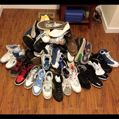 "Cleaning up, felt like putting a ""shoe game"" pic up lol it's a problem I've managed to control (Some are absent) (Taken with Instagram)"