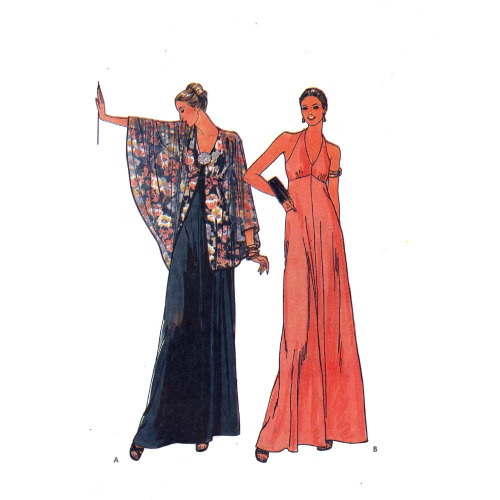 A halter dress and cape by Butterick, 1970s.