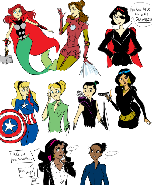 msindyjones:  whileothersreap:  DISNEY PRINCESS AVENGERS ASSEMBLE hehhehehhhh inspired from those gif sets with steve and sleeping beauty ariel - thorbelle - tony/iron mansnow white - nick furyaurora/sleeping beauty - steve rogers/cpt americacinderella - dr. bruce banner/the incredible hulkmulan - hawkeyejasmine -  black widowesmeralda - agent phil coulsontiana - agent maria hill and none for loki laufeyson bye  #there is no loki because he is already a disney prince