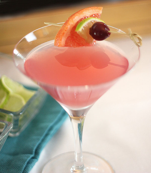 Grapefruit, Lime, and Maraschino Martini 2 oz vodka 2 oz grapefruit juice 1/2 lime, juiced 4 tsp maraschino liqueur Shake all ingredients with ice and strain into two glasses. Garnish with a grapefruit slice, cherry, and lime wedge.
