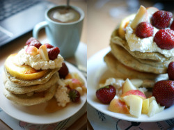 Rye apple pancakes with cottage cheese and strawberries.