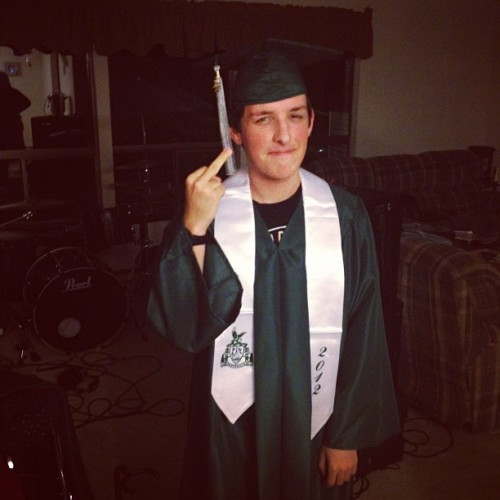 "warwithgod:  Awh lil graduate (Taken with Instagram)  I graduated from high school on Saturday and I never thought I would. Senior year was the hardest, I don't think anyone really understands how hard all of high school was for me though. It feels good to be done and I'm excited/anxious to start ""growing up"" or whatever. TCC in the fall, life is moving."