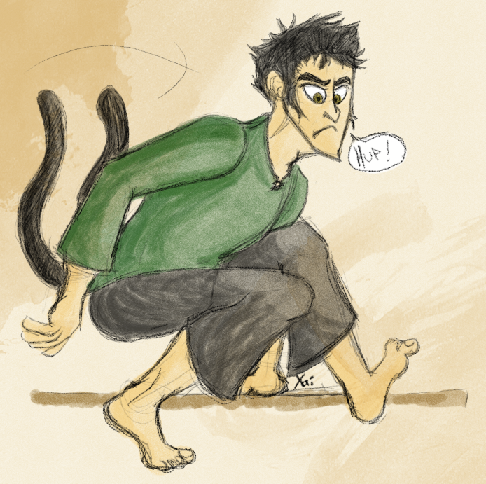 "This guy's mother was a Nekomata—a type of shapeshifting, fork-tailed cat demon from Japan—and his father was a human nobleman. His mother left his father, and he had to make a decision: Abandon the half-breed brat and pretend the whole fiasco never happened, or raise him and risk losing his status. He chose to raise him because despite it all, he loved the kid. The kid was pretty wild due to his demon blood, though his father tried to ""tame"" him. It worked until he was a teenager, when somehow the town they lived in was attacked and the kid ran off, leaving his father to fend for himself I guess? (I haven't worked out his entire backstory.) Anyway, said kid realizes that nobody can control him any more, so he becomes a thief and gathers up a small band of rogues to go terrorize small Japanese villages and so on. I really want to write this story but I need to research a lot first.  This guy can shapeshift a little—he can take any human form for a little while (a day at most), until he reverts back. He frequently does this when he needs to escape for some reason. The only problem is that he can't get rid of his tail in any way, so that's usually what gives him away. Plus (though it's kind of hard to tell in this picture), his eyes will always be amber colored. Oh, and if somebody actually calls him a Nekomata after finding him out, he'll instantly revert back. He's also kind of an arrogant prick. This is mostly due to a couple things: 1. His noble background2. As a kid he didn't really fit in with other kids OR demons, so he came to the conclusion that he was better than them.   I haven't figured out a name for him, mostly because I'm terrible at Japanese names. Colored in the character with this brush, and the watercolor splatters were made with these."