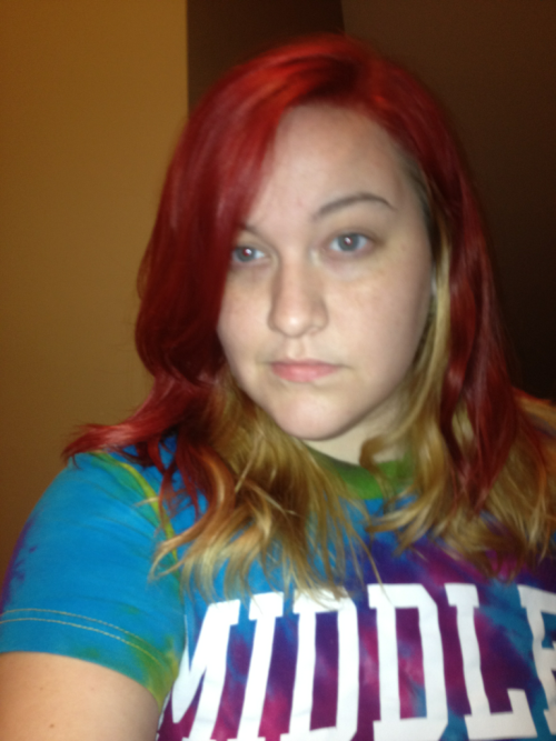 Dyed my hair again.  :D  Andddd I have a blurry bitchface going on here.