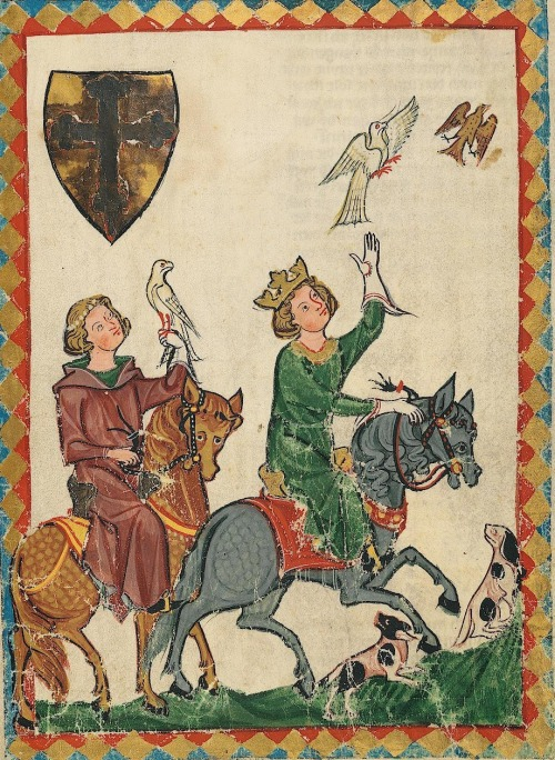 14th century (ca. 1300-1340) Switzerland - Zürich Heidelberg, Ruprecht-Karls-Universität, Universitätsbibliothek Cod. Pal. germ. 848: Große Heidelberger Liederhandschrift = Codex Manesse fol. 7r - the King Conrad the Younger http://digi.ub.uni-heidelberg.de/diglit/cpg848  The man on the left probably has a hood worn down around his neck, lined in green, atop a sleeved surcote (outer gown), which matches the pinkish colour of the outer fabric of the hood.