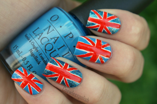 Union Jack on Flickr. This is the first design in my London Olympics 2012 series. www.coewlesspolish.wordpress.com I also made a tutorial, and I will make one for all of my Olmpic manicures! www.youtube.com/watch?v=VfG6li-pEzM&list=UU3XXfw78oRy…