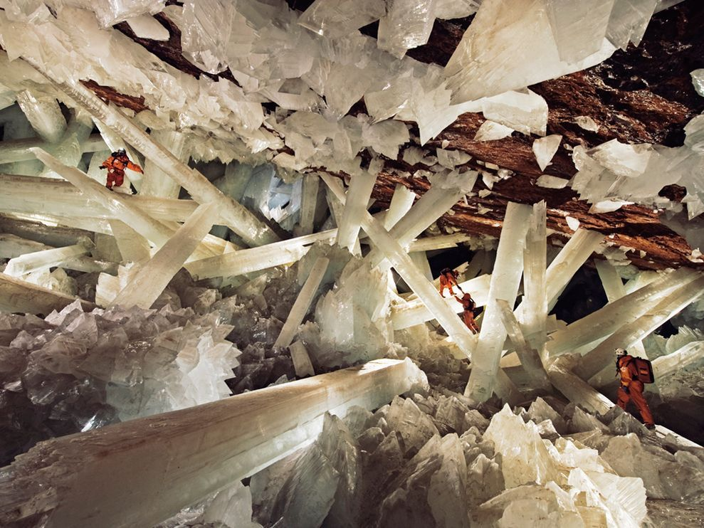 Cave of Crystals, MexicoPhotograph by Carsten Peter, Speleoresearch & FilmsMassive beams of selenite dwarf human explorers in Mexico's Cave of Crystals, deep below the Chihuahuan Desert. Formed over millennia, these crystals are among the largest yet discovered on Earth.This Month in Photo of the Day: National Geographic Magazine Features:http://ngm.nationalgeographic.com/2008/11/crystal-giants/shea-text