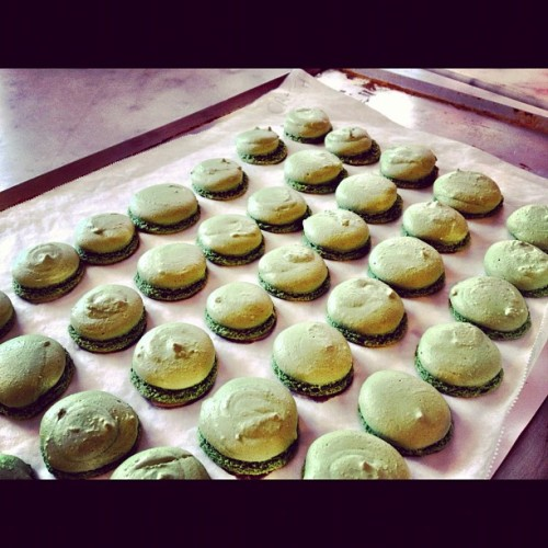 The pistachio meringue is out of the oven, waiting for the lemon and Choc - time to make the filling! (Taken with Instagram)