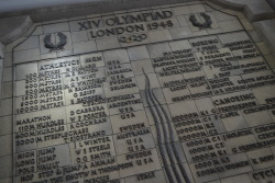 The medal table from the 1948 London Olympic Games outside Wembley Stadium. Part of the series: London's Olympic History