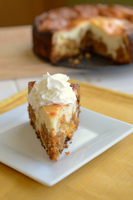 fooderific:  clottedcreamscone:  Carrot Cake Cheesecake by Pennies on a Platter on Flickr.