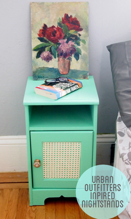 Urban Outfitters Inspired Night Stands | Craft Habit I've recently decided that now I've decorated the rest of my house that it was time to decorate my bedroom. I got myself some gorgeous vintage style lemon coloured lamps and some matching zig zig pillows but I've still got my old bedside tables back from when I was 10! A makeover is just what they need. I love this makeover - especially the rattan in the door. If you don't have cupboards already you can usually pick up ones like this at second hand stores. Try hardware stores or ebay rattan.