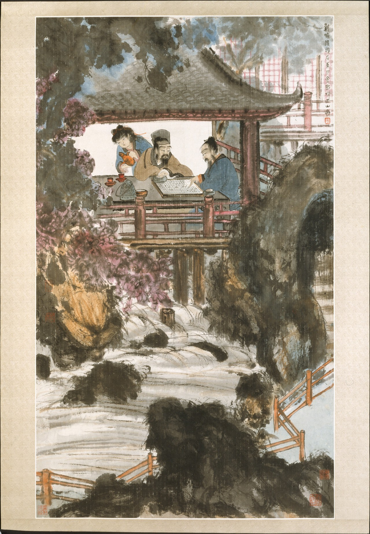 "Fu Baoshi - Playing Weiqi at the Water Pavilion, mid 20th century. Hanging scroll: Ink and colour on Korean paper From the Metropolitan Museum of Art, NYC:  Between 1933 and 1935 Fu Baoshi studied painting in Japan, where he developed notions of a new national painting style based on a fusion of Western realism and traditional brushwork. After his return to China, Fu taught at the National Central University in Nanjing.This large painting was done between 1940 and 1946, when Fu lived in Sichuan. The garden pavilion buttressed by powerful rocks next to a rushing stream may refer to Fu's personal retreat as identified in his inscription: ""The Mountain Studio at the foot of Mount Jin'gang in Eastern Sichuan."" It may also be understood as a metaphor for China's enduring culture. The two scholars at weiqi (go, in Japanese) recall the four traditional accomplishments of the gentleman-weiqi, playing the zither, calligraphy, and painting-but they may also allude to China's history of military strategy.The composition, framed top and bottom by forms rendered in saturated daubs of black ink, presents a shallow space packed with richly colored garden elements. Only the freestanding screen in the pavilion remains unpainted, serving as a bold accent that throws the figures into high relief, accentuating the stagelike drama. Fu's combination of Chinese and foreign painting methods is evident in his treatment of the stream, which is delineated with dry-brush contours and alternating passages of wash and uninked paper that suggest the play of sunlight across the surface-a treatment borrowed from Western watercolor techniques."